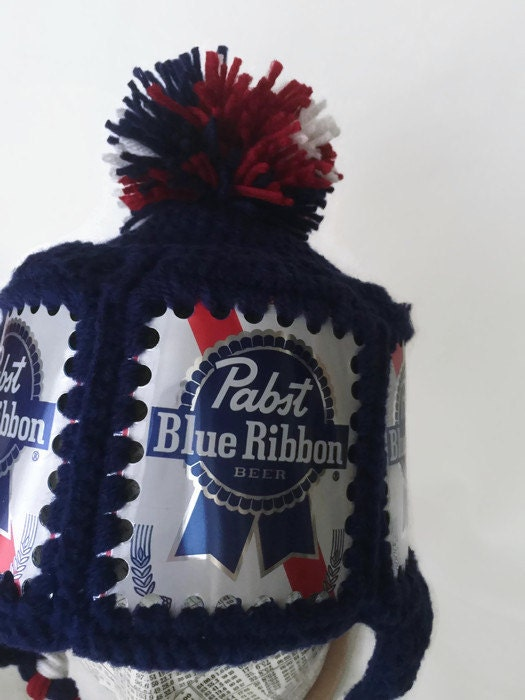 b2e38723745 Pabst Hat   PBR Hat   Pabst Crochet Beer Can Hat   PBR Beer Can Hat ...