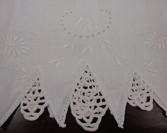 Vintage White Cotton Pillow Case Eyelet Solid Stitches Plus Crocheting