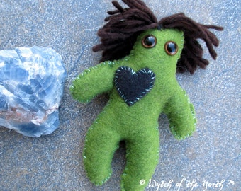 EARTH Planetary Magick Herbal Poppet - Handmade Rustic Plushie, Felt Doll, Pagan Doll, Grounding, Healing, Hearth, Protection