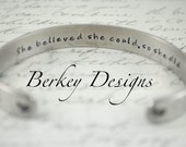 She Believed She Could So She Did Secret Message Hand Stamped Bracelet- Personalized Bracelet