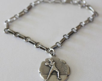 Vintage STERLING CHARM BRACELET w/ Female Basketball Player Charm - 1950s Silver