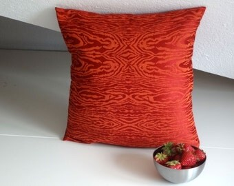 Red  orange damask zebra pillow, elegant pillow cover, 16x16 inches, decorative pillows