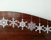 Six Lace Crochet Snowflake White Christmas Decoration Ornaments Wall Hanging Modern Wall Art Baby Mobile Parts