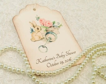 Baby Shower Thank You Tags-Duckling Rattle Vintage Inspired Favor Tags-Baby Gift Tags-Set of 12