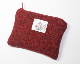 HARRIS TWEED purse, coin purse, change purse, Harris Tweed, dark red