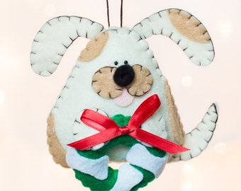 Felt Dog Ornament - Cream and Tan