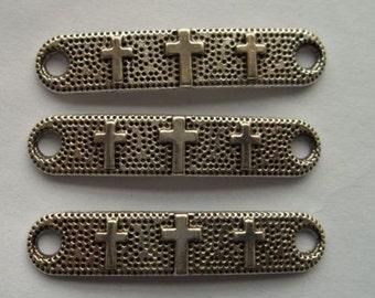 Cross Connectors, 5 Antique Silver Charms 38 x 8 mm - cn186