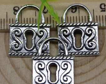 8 Lock Charms, Antique Silver Double Sided 19 x 15 mm, U.S Seller - ts934
