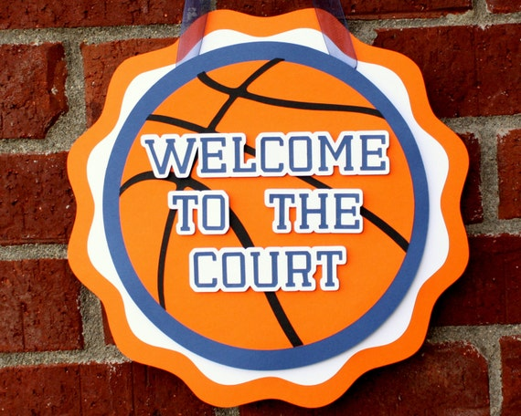 Basketball Party Door Sign . Basketball Birthday Party Decorations .  Basketball Hang Sign . Sports Party