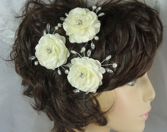 Wedding Hair Flowers, Rose Hair Pins, Set of 3, Mini Hair Roses, Charmeuse Hair Pins, Wedding Accessories, REX16-371