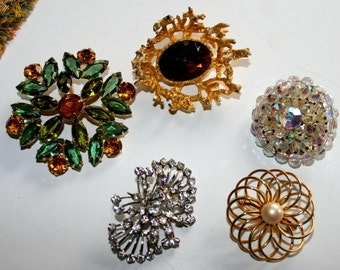 Vintage Lot of Five Costume Jewelry Brooches Rhinestone Brooches