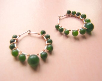 Gypsy Hoop Earrings in Green Agate with Copper and Silver Hand Wire Work