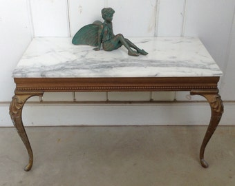 Turner Wall Accessory Marble 2 Legged Table ~Entryway Hallway Foyer Table Screws to the Wall ~ Metal Legs ~ Turner Mfg. Co. Made in American