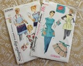 Antique Sewing Patterns- Two- Aprons- 1950's 1960's aprons- with iron on embroidery and hot pads- Simplicity4492- Simplicity 3206- unisex