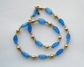 Tatianna Ecru Pearl and Blue Glass Bead Necklace