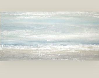 Art, Large Painting, Original Abstract, Acrylic Paintings on Canvas by Ora Birenbaum Titled: Soft Clouds 30x60x1.5""