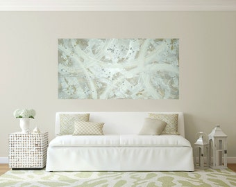 """Art,Painting,Acrylic,Abstract, Bright Abstract, Acrylic Painting Canvas by Ora BirenbaumTitled: Silver Ribbons 2 30x60x1.5"""""""