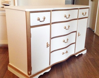 White and Gold Trim French Country Regency  Dining Sideboard, Buffet, Credenza