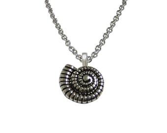 Ammonite Fossil Design Pendant Necklace