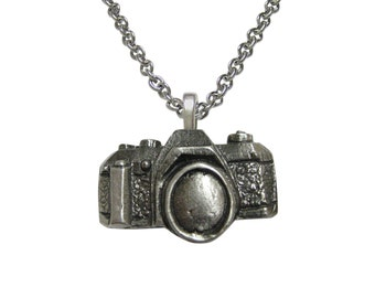 Textured Camera Pendant Necklace