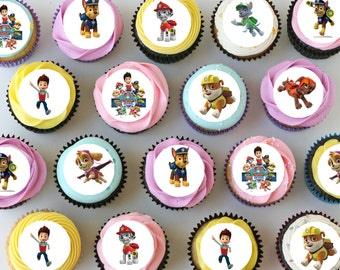 "Paw Patrol Mini Edible Cupcake Toppers - 1"" - PRE-CUT"