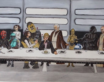 The last supper with a side of the force Star Wars A3 fanart Print