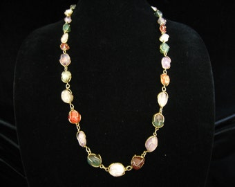"SALE 30"" Tumbled Stone Necklace. 30 Individually Wire Wrapped Mixed Semiprecious Stones Connected by Small Oval Links.  Gold Finished Metal."