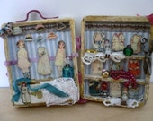 Dollhouse Miniature One Inch Scale Paper Doll Set in Case