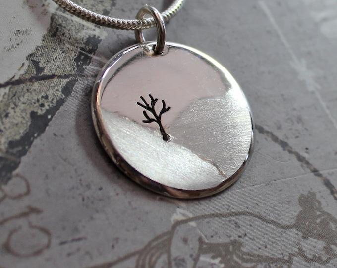 Tree Pendant, Tree in the Landscape, Silver Jewelry, Silver Pendant, Pendant, Silver Jewellery