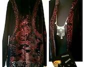 Vintage Black Velvet Oriental Duster Jacket with Red Dragon Velvet Burnout - Gypsy Boho Fest - Embossed Silk Velvet Duster - Medium Large XL
