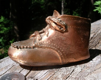 Vintage Bronze Baby Shoe - Child's First Steps Keepsake - Toddler's Milestone Memento