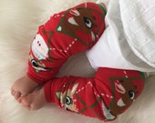 Rudolph Santa Baby Legs / Christmas Argyle Leg Warmers- Free Domestic Shipping
