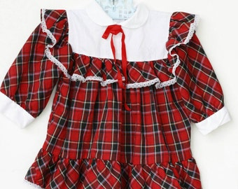 Vintage red plaid toddler dress with white bib and lace trim, 24 month
