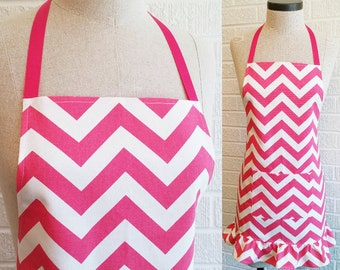 Ruffled Hot Pink Chevron Apron with Pocket - Can be Personalized, Pink and White, Free Shipping, Made in The USA, ZigZag Stripe