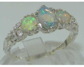 950 Platinum Natural Opal Womens Trilogy Ring  Customizable Platinum9K10K14K18K Yellow Rose or White Gold