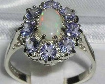 English 925 Sterling Silver Natural White Opal & Tanzanite Ring, Antique Style Flower Cluster Ring, Anniversary Ring -Customize:14K,18K Gold