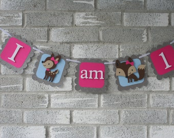 Woodland Banner, Woodland Highchair Banner, Woodland Banner, Woodland I am 1 Banner, Woodland Highchair, Forest Friends I am 1, Deer I am 1