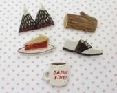 Twin peaks set of 5 handmade pins / badges