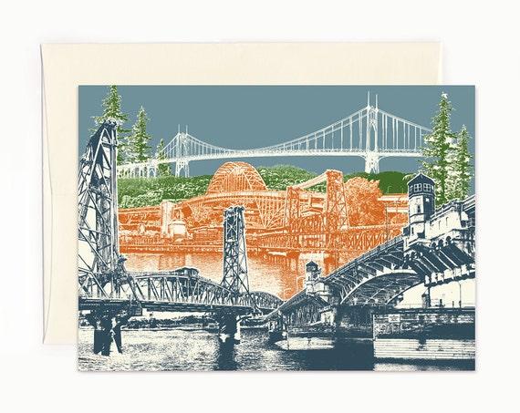 Many Crossings in Bridgetown Notecard - Portland, Oregon - full color - folded Greeting Card