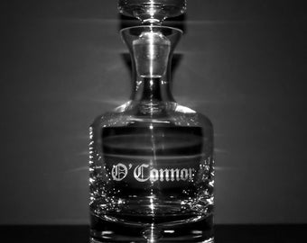 Crystal Whiskey Decanter w/ Last Name - Personalized Groomsmen Gifts