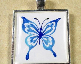 Blue Butterfly Pendant, Butterfly Necklace, Butterfly Jewelry, Butterfly Gifts, Colorectal Cancer Charity Donation, Cancer Awareness Gift