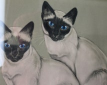Internet Cats Gladys Emerson Cook Prints Siamese Cats Vintage Pet Portrait Arts Blue Eyed Kittens Framed Art Pet Prints Animal Drawing Kitty