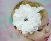 Pure White Dahlia Flower on Soft Elastic Headband - Little Girls Hair Bow- Newborn Baby Photo Prop - Easter Spring Summer Wedding Baptism