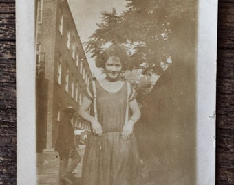 Original Antique Photograph Girl in Suspendars