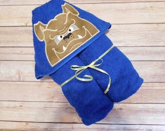 Bulldog hooded towel; boys hooded towel; dog hooded towel; royal blue hooded towel