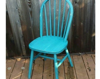 Awesome Upcycled Vintage Wooden Chair, Thomasville Teal Chalk Paint And Clear Glaze  Wax Finish, Shabby