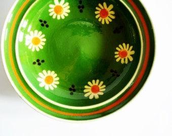 Lovely German Vintage Rustic Folk Art Handmade Flower Pottery Ceramic Plate - Kitchen Wall Decor