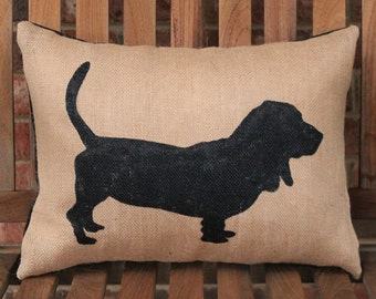 Hand Painted Basset Hound on Burlap Pillow Cover