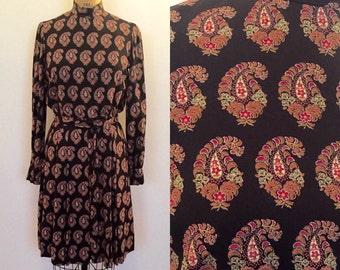 Geoffrey Beene Boutique brown paisley dress for Bonwit Teller