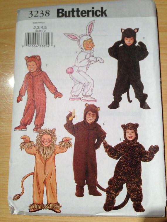 Butterick 3238 Sewing Pattern UNCUT Childrens Costume Bunny, Lion, Monkey, Bear, Cat and Leopard Size 2-5